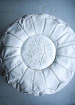 Moroccan Leather Pouf Round White