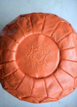 Moroccan Leather Pouf Round Orange
