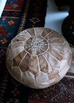 Moroccan Leather Pouf Round Nude