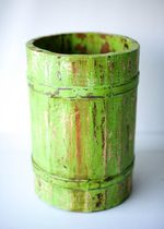Vintage Wooden Barrel Faded Green