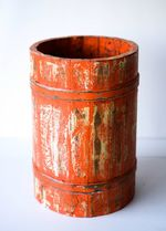 Vintage Wooden Barrel Faded Orange