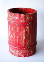VIntage Wooden Barrel Faded Red