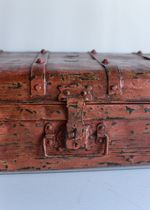 Old Travel Trunk Faded Red