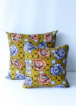 African Wax Print Pillow Mustard S