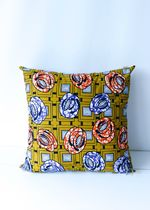 African Wax Print Pillow Mustard M