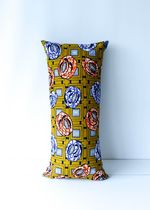 African Wax Print Pillow Mustard Long