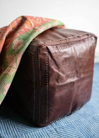 Moroccan Leather Pouf Cube