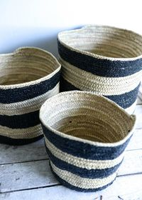 Black Stripy Basket