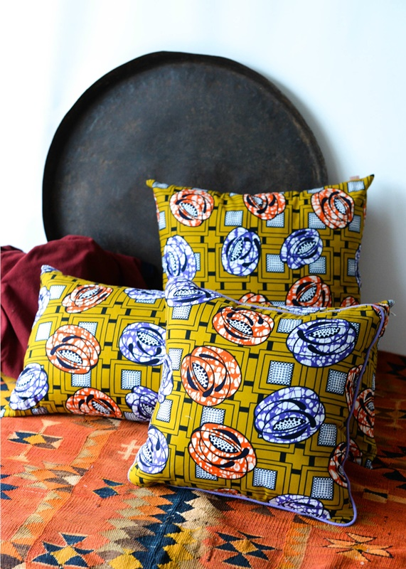 African Wax Print Pillow Mustard